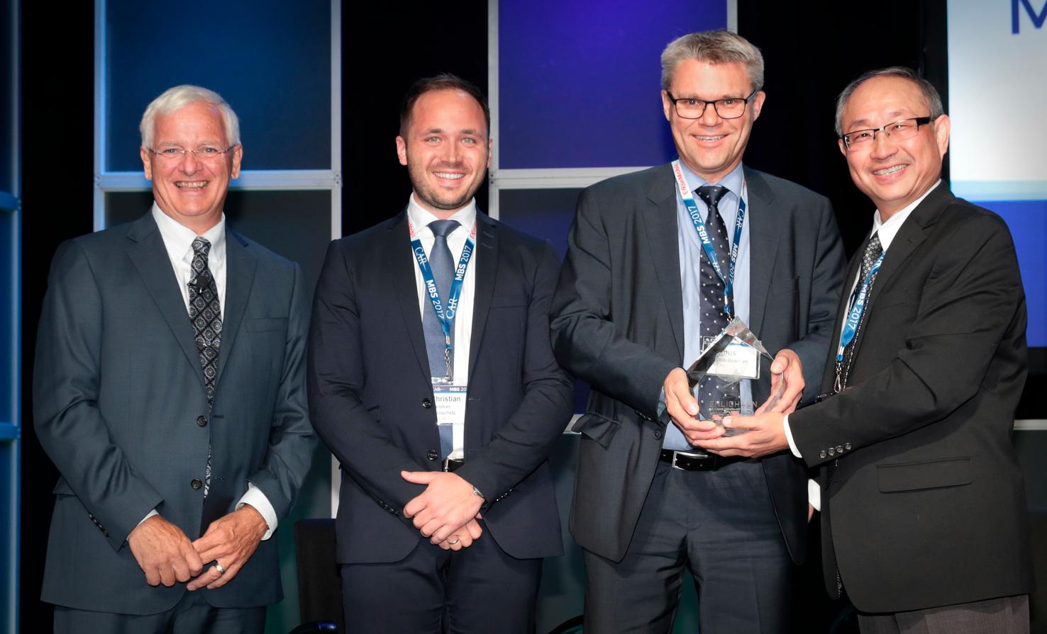 Proud winners and organizers: From left, Judging Chair Dr. Jay Baron, president and CEO of CAR (Center for Automotive Research); Dr. Christian Koroschetz, CTO, Technology Development at AP&T; Magnus Baarman, CEO at AP&T and Richard Yen, senior vice president, Automotive and Global Markets Team at Altair.