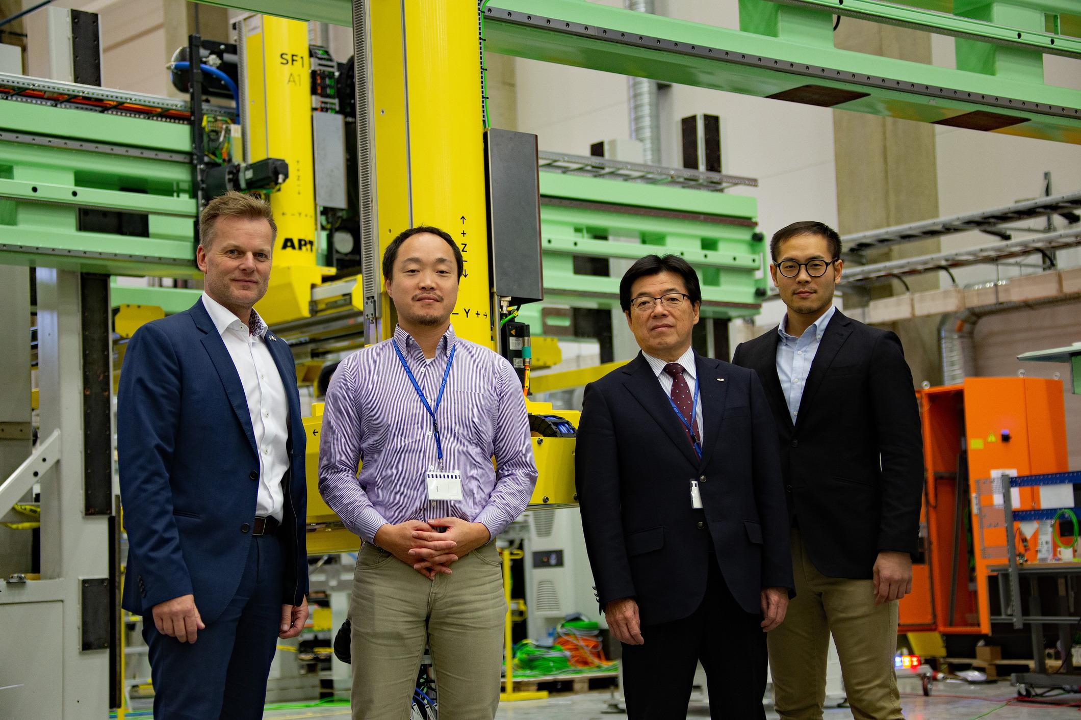 Unipres visits AP&T in Ulricehamn, Sweden. Tsutomu Serizawa and Ryoji  Maeda from Unipres in the middle, with Peter Robisch and Yuki Yoshikawa from AP&T on either side.